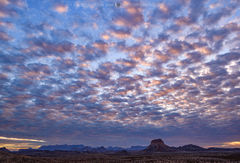 Big Bend National Park, West Texas desert, sunrise, cloudy, Chisos Mountains