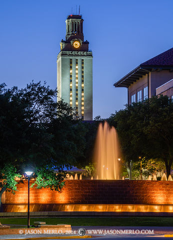 Austin, University of Texas, campus, Tower, East Mall, fountain, commencement, 2014