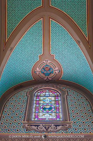 2016061705, Stained glass window and painted ceiling