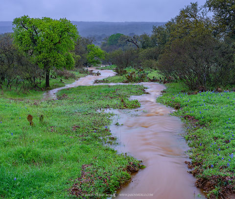 Mason County, Texas Hill Country, rain, rainfall, stream, rainstorm, James River