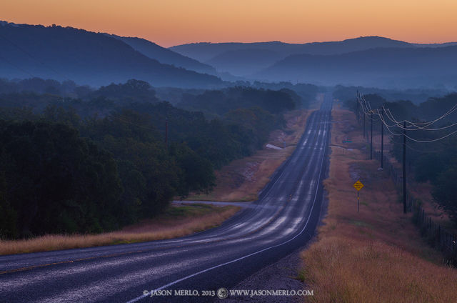 Real County, Texas Hill Country, RR 337, fog, dawn, sunrise