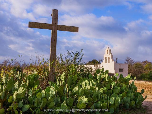 Mission San Juan Capistrano, San Antonio, Texas, San Antonio Missions National Historical Park, prickly pear cactus, Opuntia engelmannii, chapel