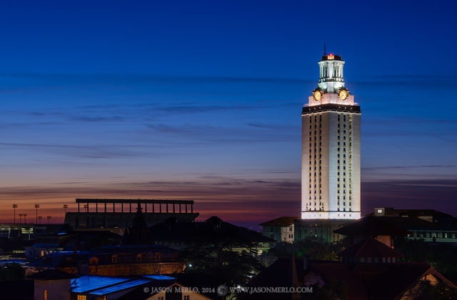 Austin, University of Texas, campus, Tower, dawn, Darrell K. Royal - Texas Memorial Stadium