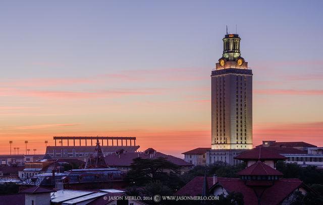 Austin, University of Texas, campus, Tower, sunrise, Darrell K. Royal - Texas Memorial Stadium