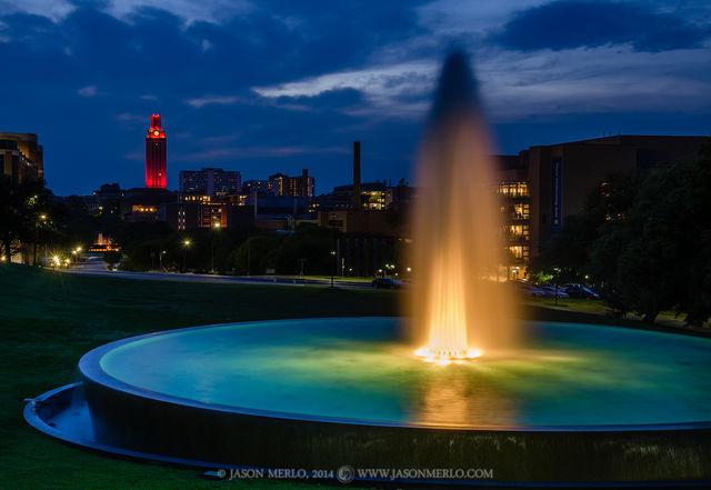 Austin, University of Texas, campus, Tower, LBJ Fountain