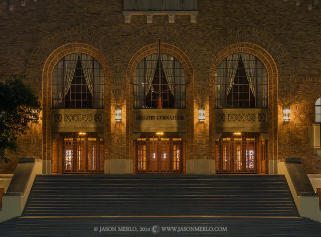Austin, University of Texas, campus, Gregory Gym, night