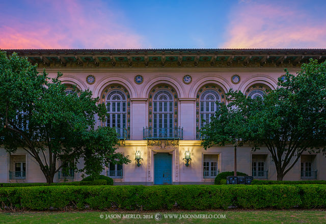 Austin, University of Texas, campus, Battle Hall, dusk