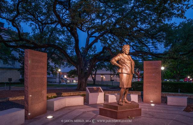 Austin, University of Texas, campus, Barbara Jordan, statue, Battle Oaks, dawn