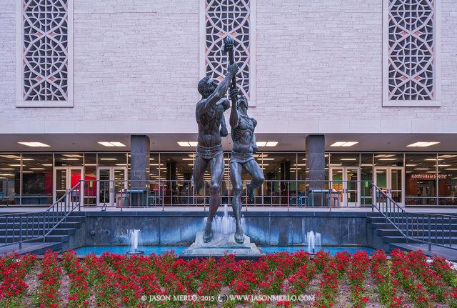 Austin, University of Texas, campus, Flawn Academic Center, Torchbearers, statue, sculpture