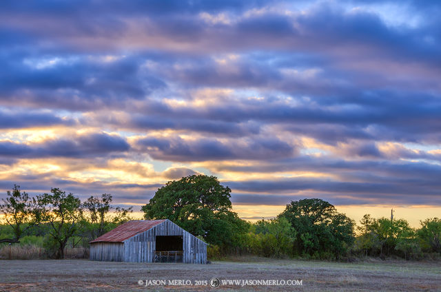 San Saba County, Texas Hill Country, Texas Cross Timbers, barn, sunset