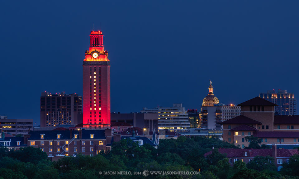 Austin, University of Texas, campus, Tower, Texas State Capitol, dome, dusk