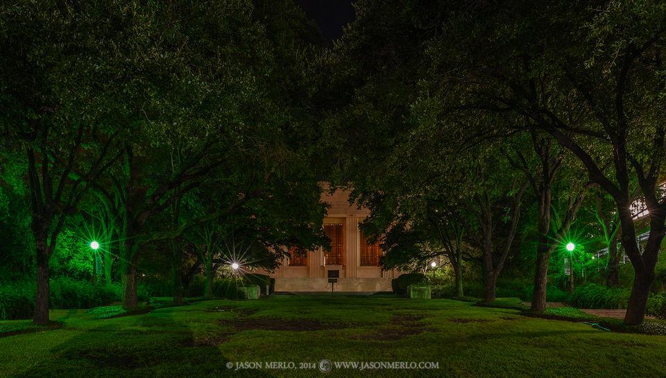Austin, University of Texas, campus, Texas Memorial Museum, live oak, trees, Quercus virginiana, night