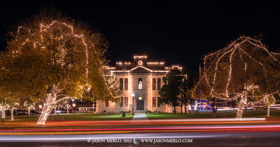 Blanco, Blanco County courthouse, Texas county courthouse, Christmas