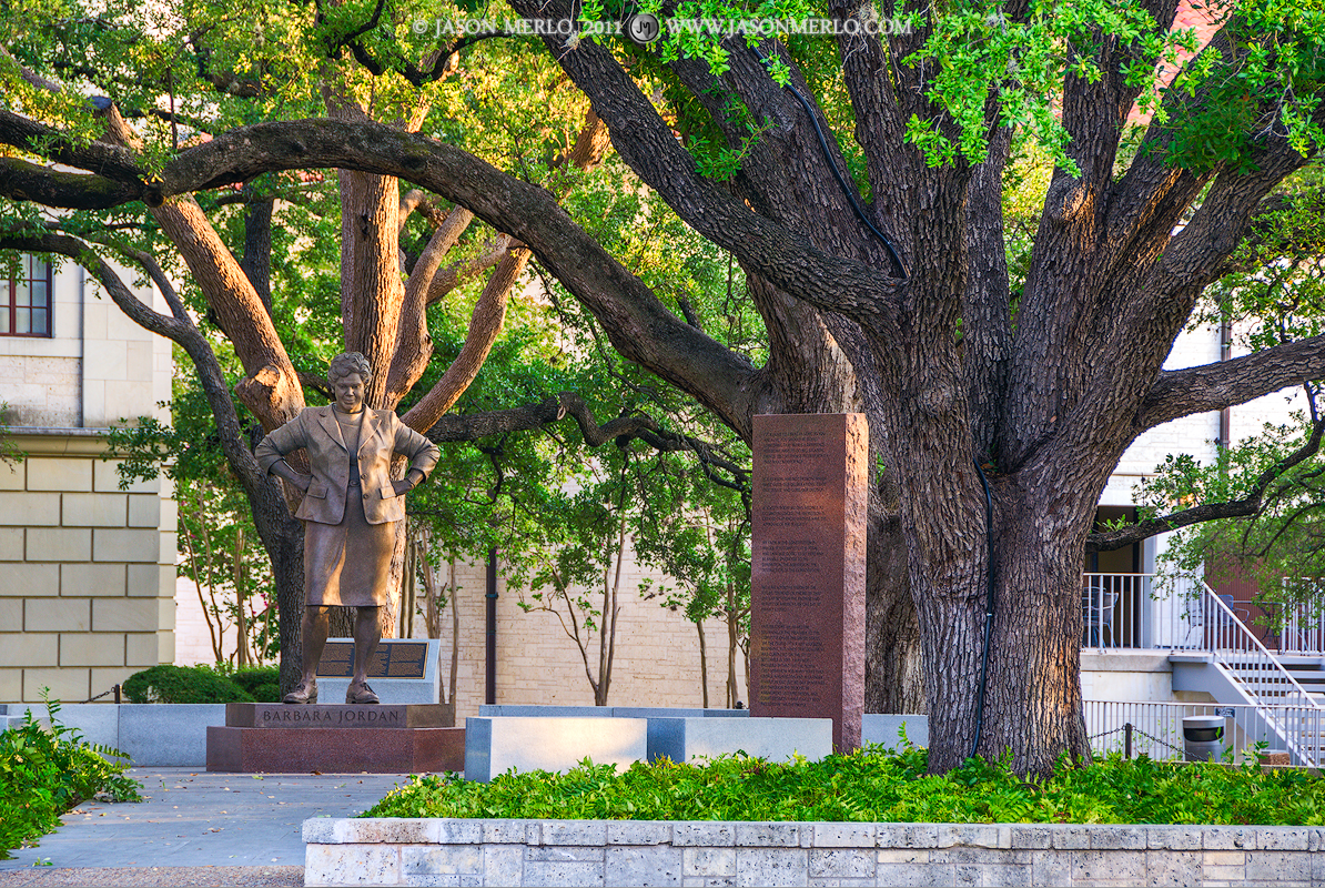 Austin, University of Texas, campus, Barbara Jordan, statue, Battle Oaks, photo