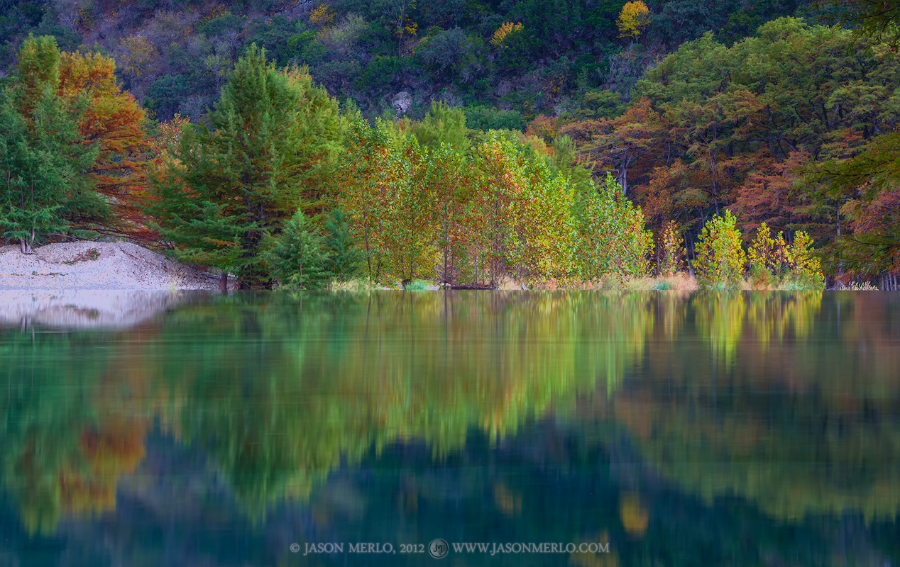 Garner State Park, Uvalde County, Texas, Hill Country, Frio River, reflection, cypress, sycamore, trees, photo