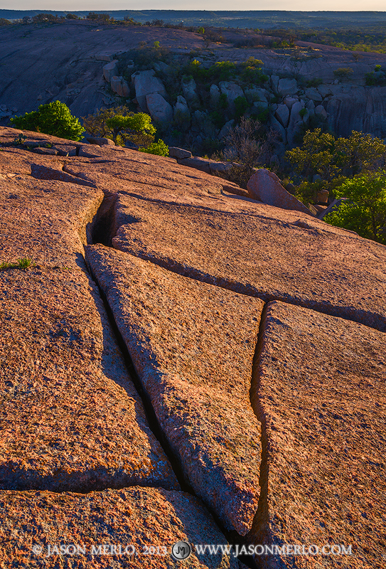 Exfolitation joints on the summit of Enchanted Rock at sunset at Enchanted Rock State Natural Area in Llano Countyin the Texas...
