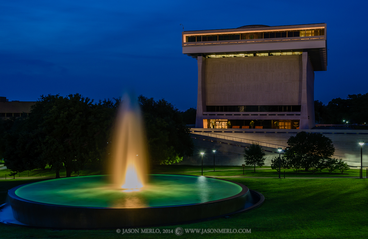 The Lyndon Baines Johnson Presidential Library and LBJ Fountain at dusk at the University of Texas in Austin, Texas.