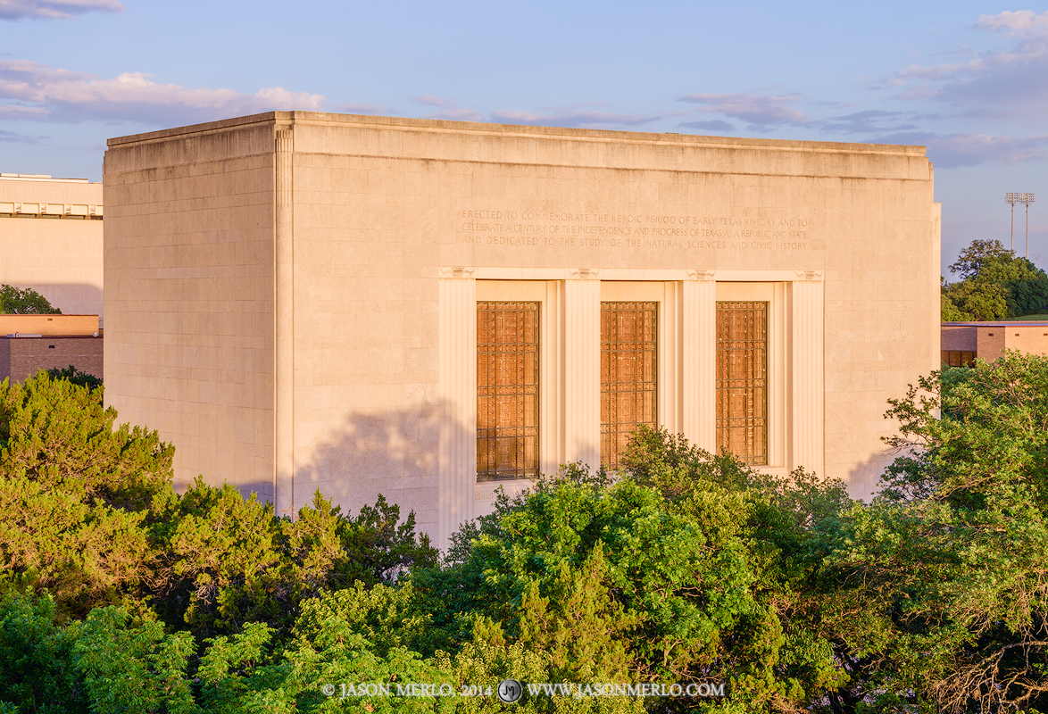 Austin, University of Texas, campus, Texas Memorial Museum, sunset, photo