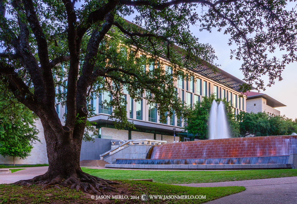 Austin, University of Texas, campus, East Mall, fountain, Liberal Arts Building, live oak, tree, Quercus virginiana, dusk