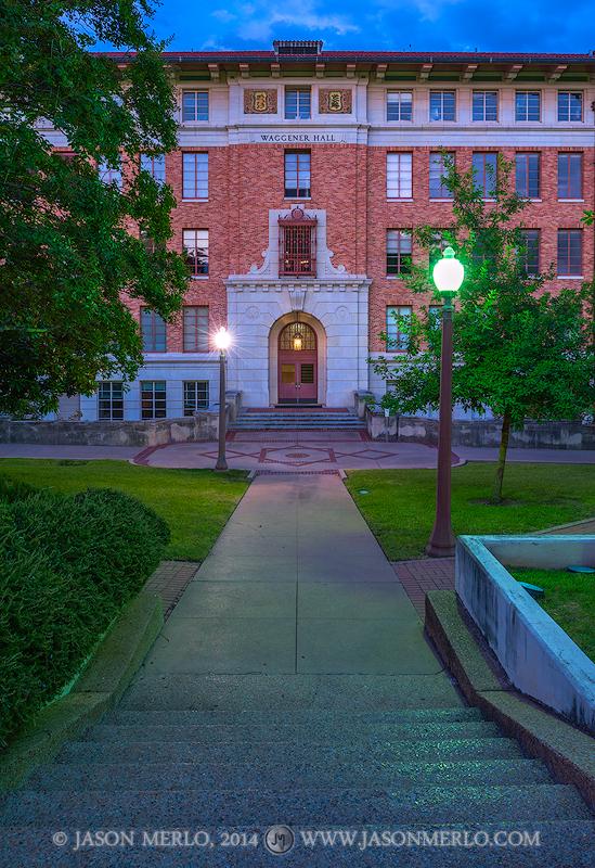 Austin, University of Texas, campus, Waggener Hall, dusk, photo
