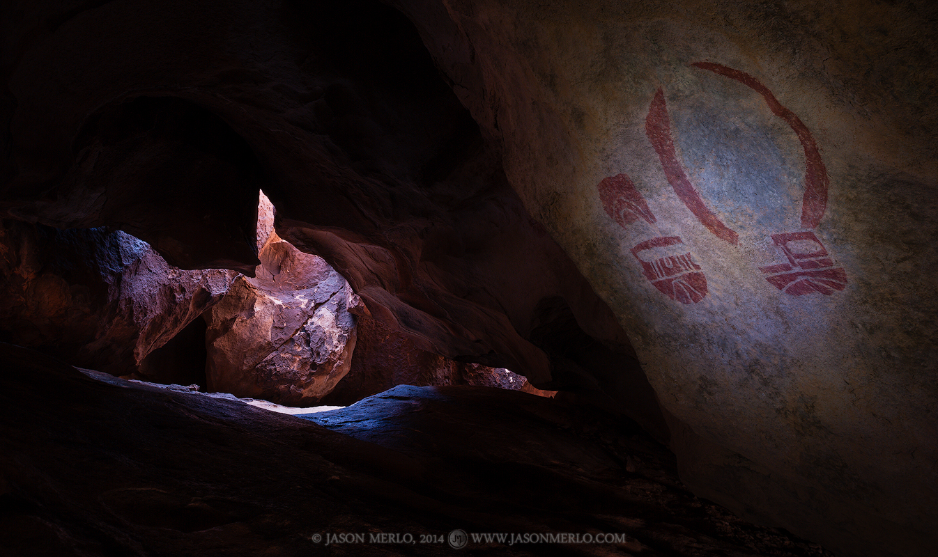 Two painted masks in a cave at Hueco Tanks State Park and Historic Site in El Paso County in WestTexas.