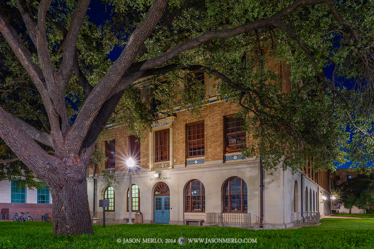 Sutton Hall at dawn at the University of Texas in Austin, Texas.