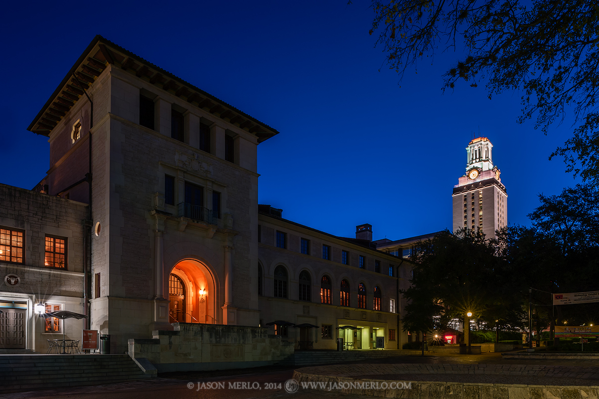 The Texas Union Building and the Tower at dawn from the West Mall at the University of Texas in Austin, Texas.