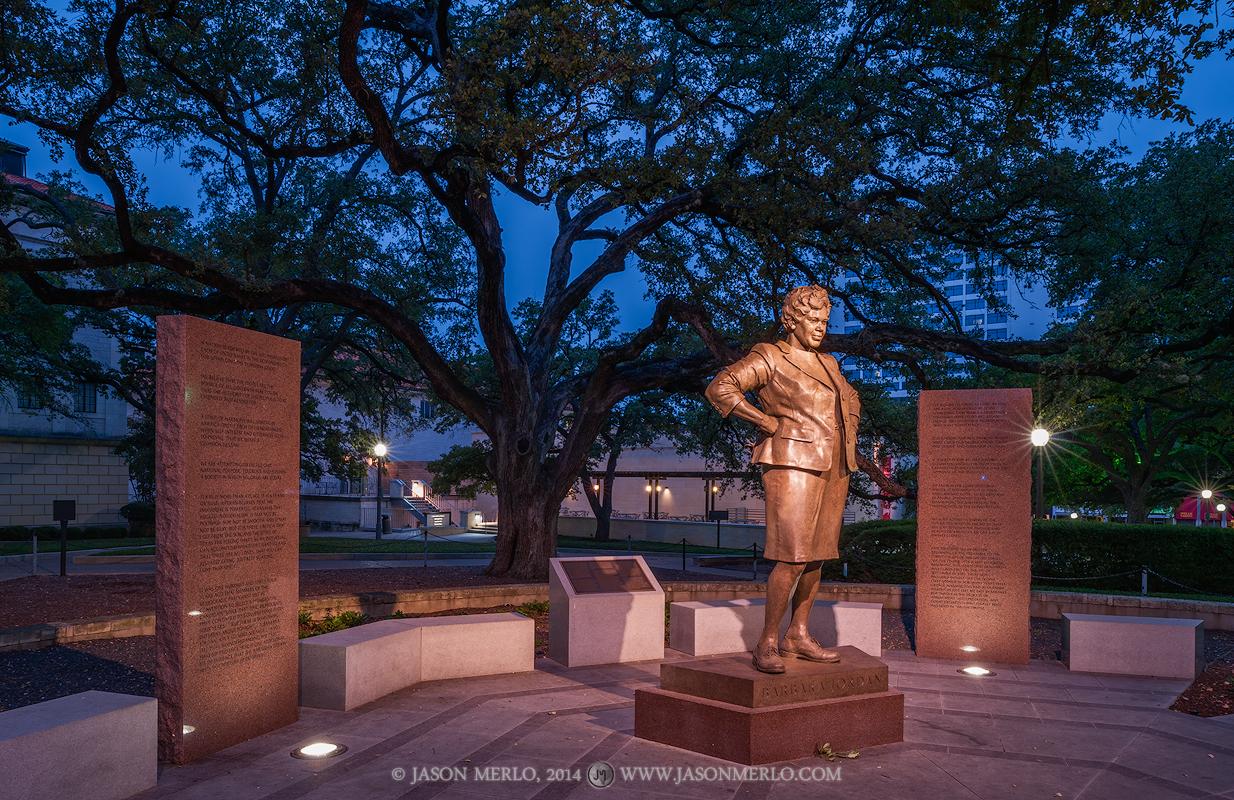 Austin, University of Texas, campus, Barbara Jordan, statue, Battle Oaks, dawn, photo