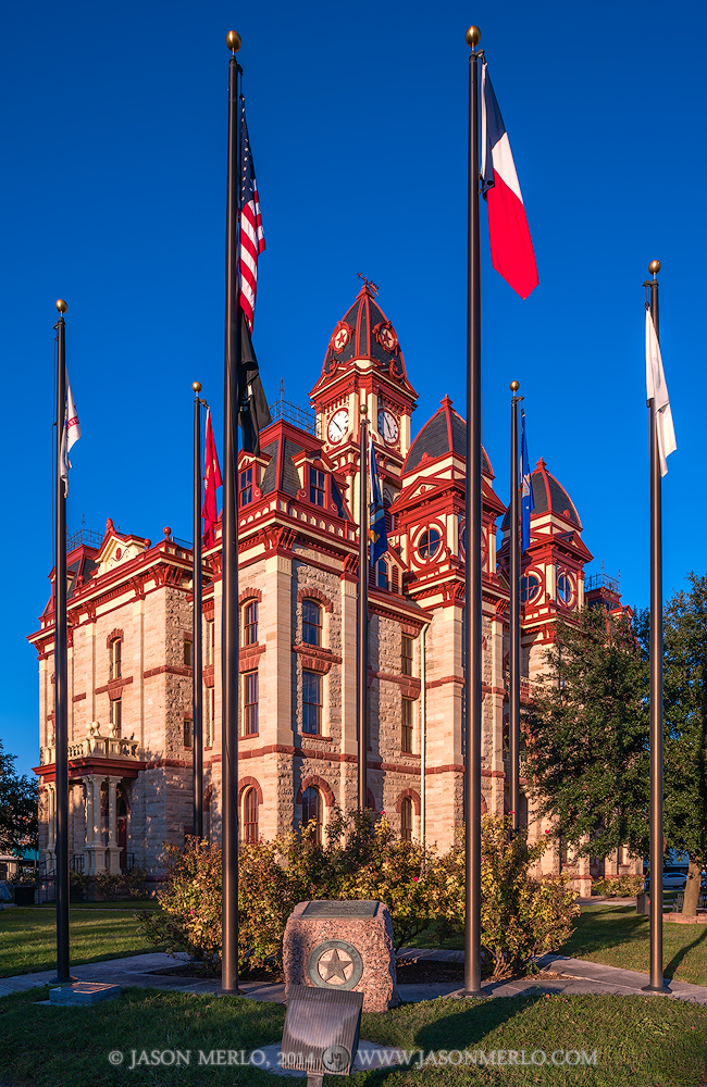 Lockhart, Caldwell County courthouse, Texas county courthouse, flags, photo