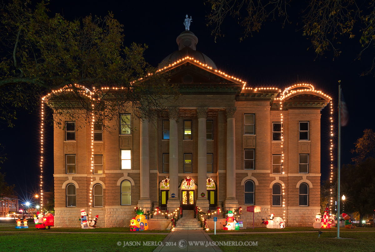 San Marcos, Hays County courthouse, Texas county courthouse, retired, Christmas, photo