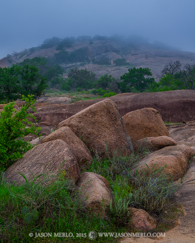 Enchanted Rock State Natural Area, state park, Texas Hill Country, Llano, Fredericksburg, Llano County, Gillespie County, Llano Uplift, fog, Freshman Mountain, photo