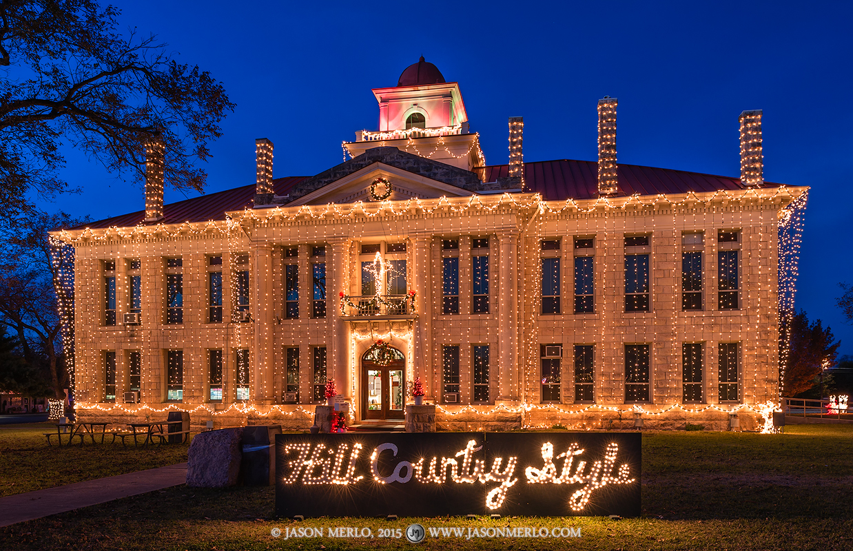 Johnson City, Blanco County, Texas county courthouse, Christmas, photo