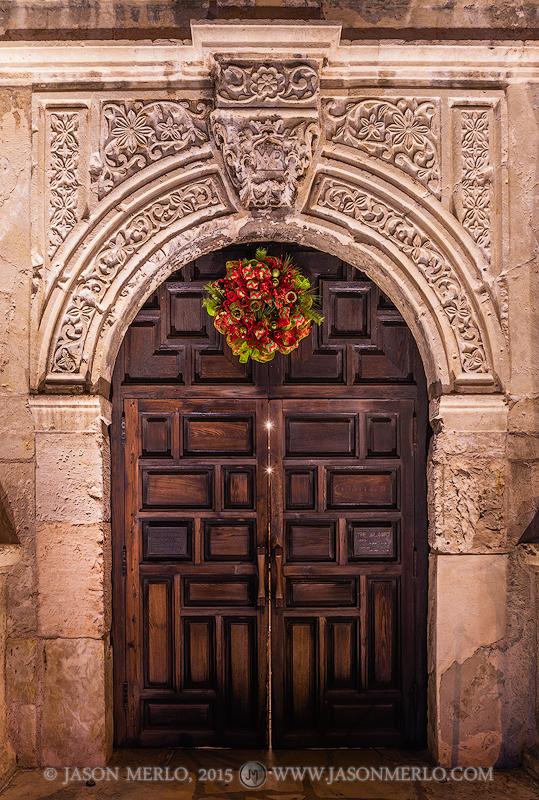 A wreath above the Alamo door at Christmas in San Antonio in South Texas.