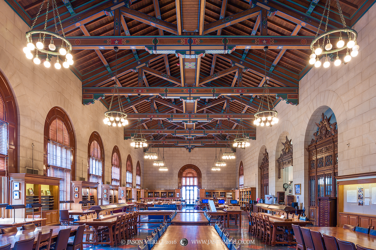 The Architecture and Planning Library Reading Room at the University of Texas in Austin, Texas.