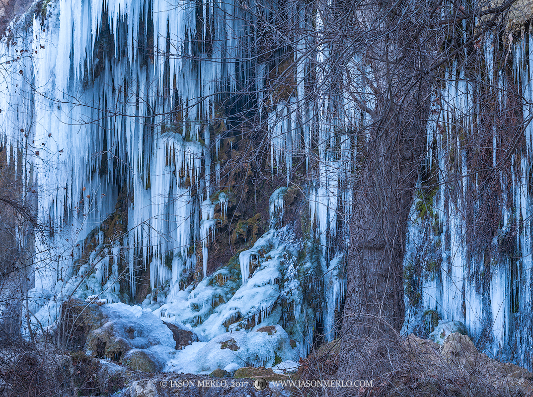 Colorado Bend State Park, Texas Hill Country, San Saba County, Gorman Falls, limestone, waterfall, icicles, frozen, photo