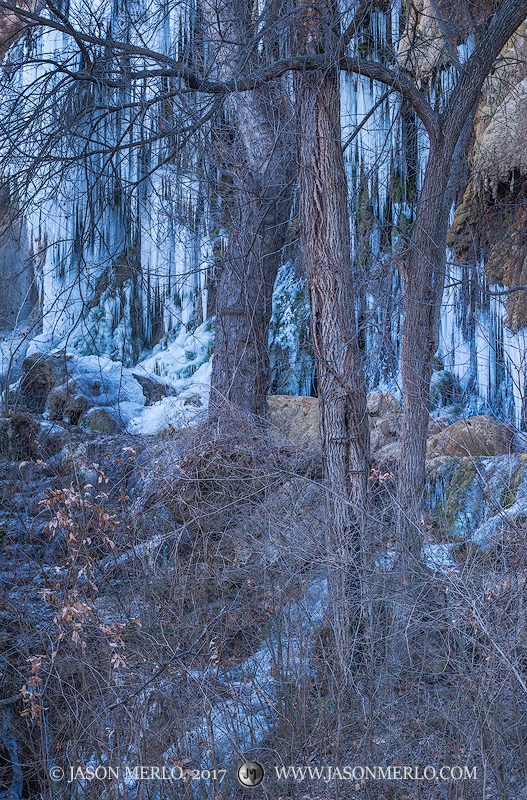 Colorado Bend State Park, Texas Hill Country, San Saba County, Gorman Falls, waterfall, icicles, frozen, photo