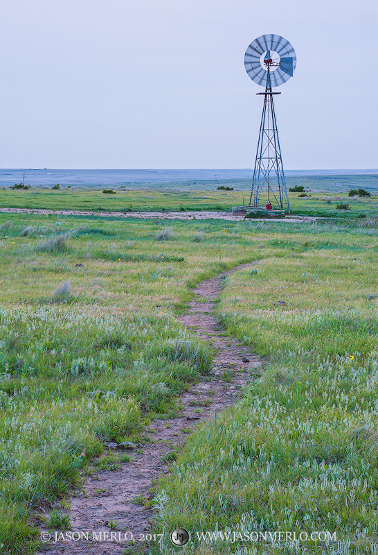 A cattle trail and windmill in Armstrong County in theTexas Panhandle Plains.