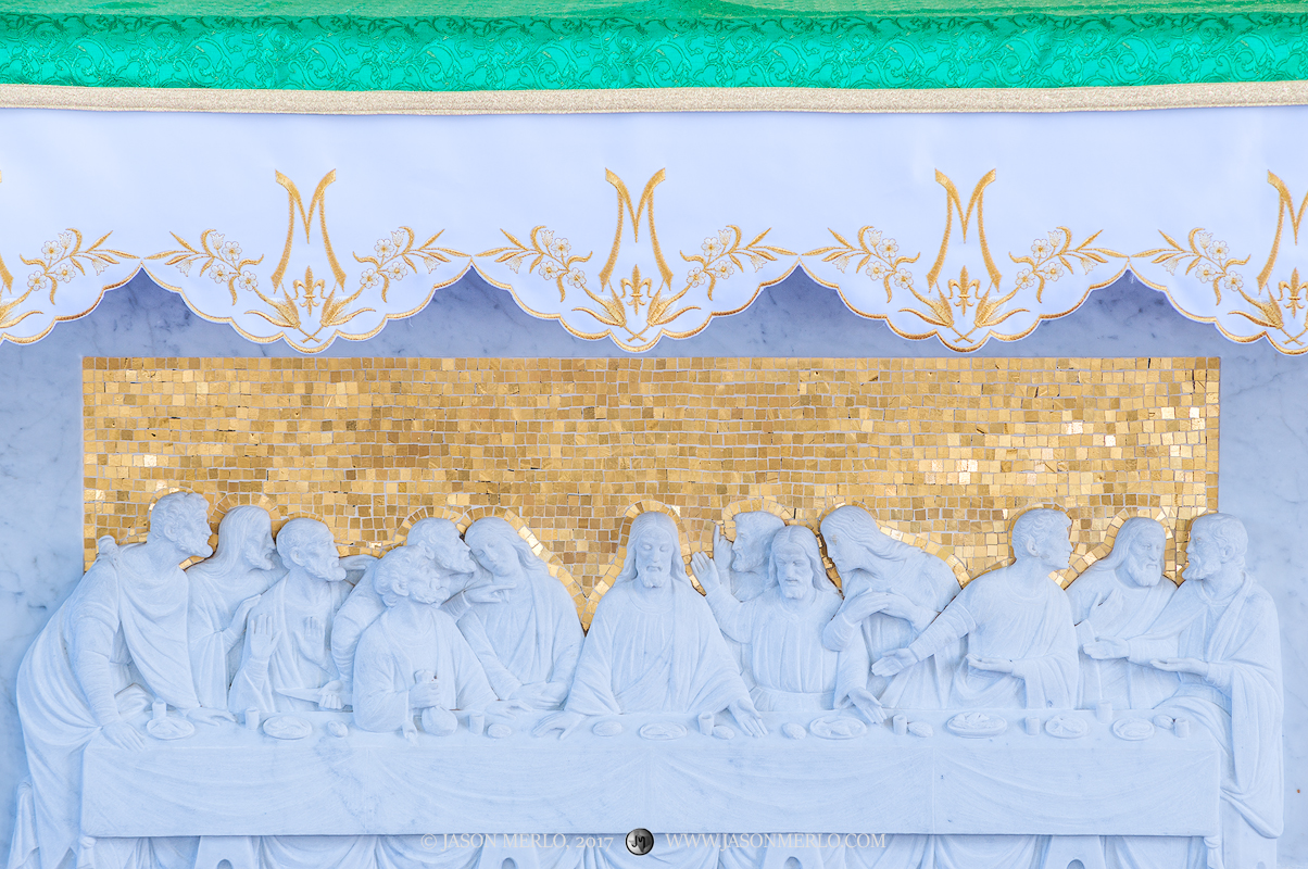 A marble carving of the Last Supper at Immaculate Conception of the Blessed Virgin Mary Catholic Church in Panna Maria, one...