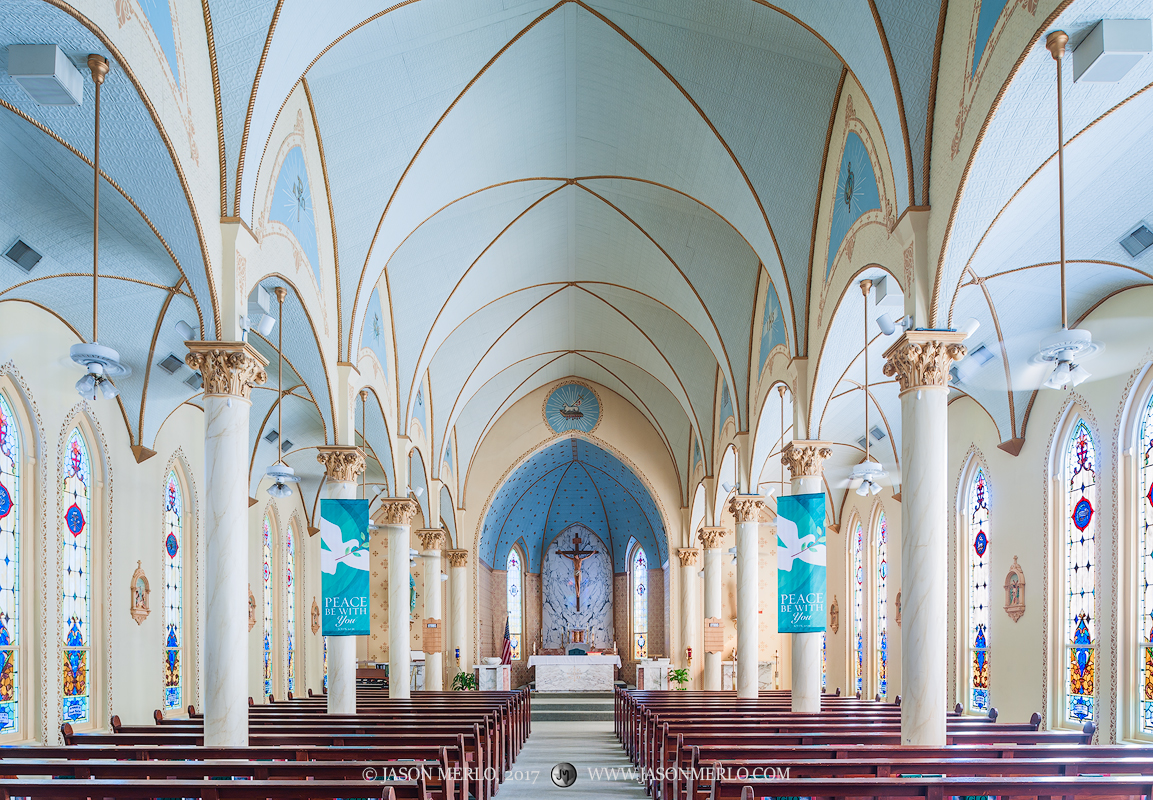 Our Lady of Grace Catholic Church in La Coste, one of the Painted Churches of Texas.