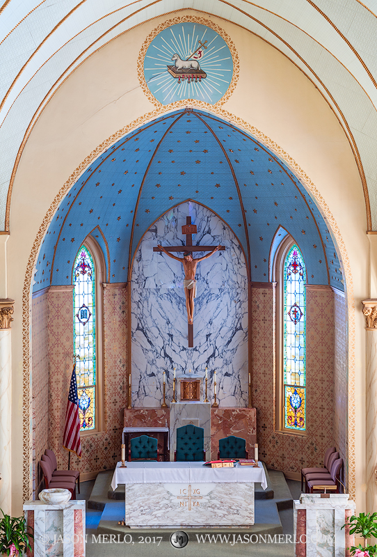 The sanctuary at Our Lady of Grace Catholic Church in La Coste, one of the Painted Churches of Texas.