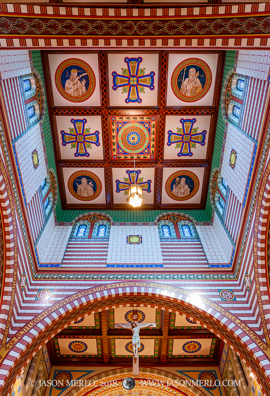 Ceiling and apse detail at St. Peter's Catholic Church in Lindsay, one of the Painted Churches of Texas.