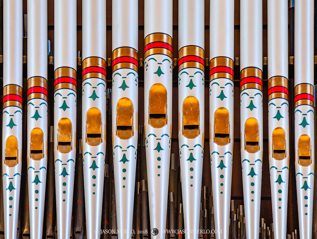 Organ pipes at St. Peter's Catholic Church in Lindsay, one of the Painted Churches of Texas.