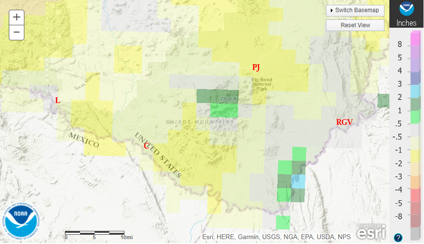September 2020 departure from normal rainfall in the Big Bend.