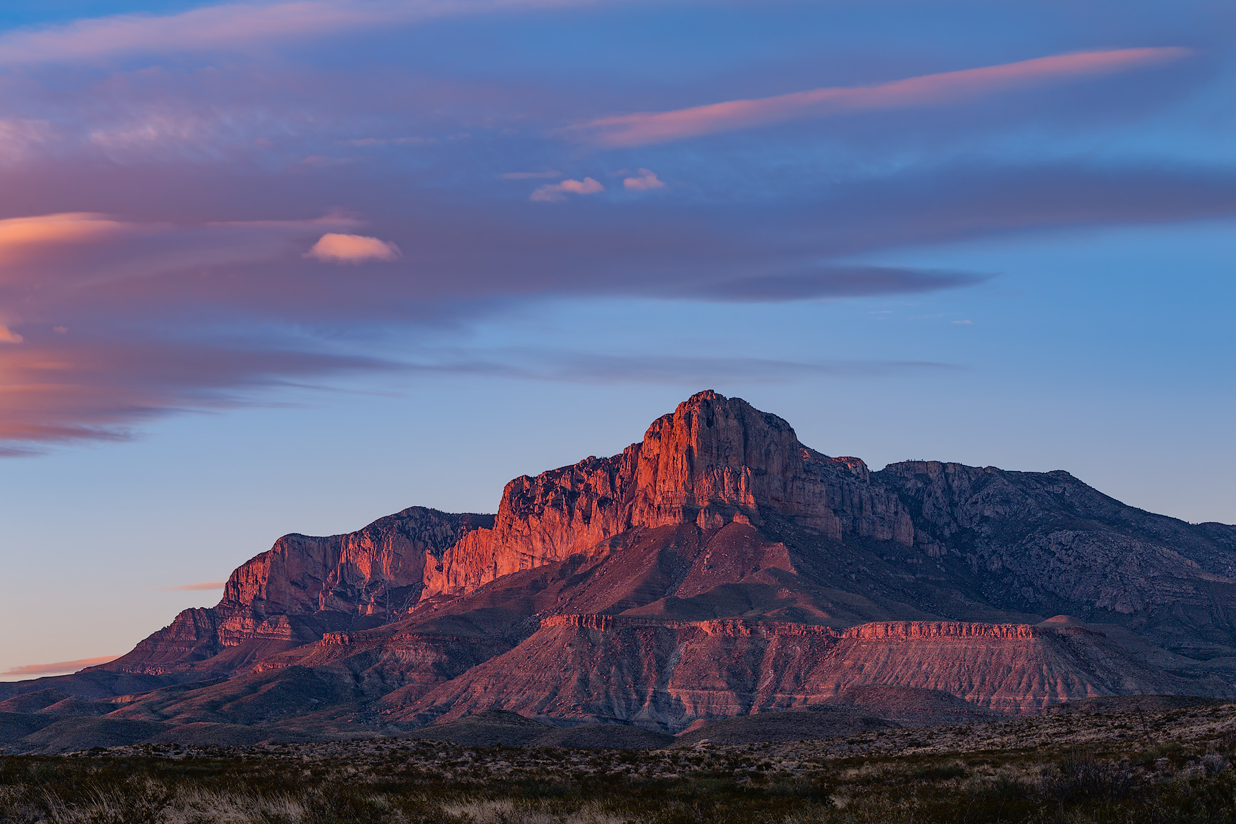 Last light on the Guadalupe Mountains at Guadalupe Mountains National Park in Culberson County, Texas.